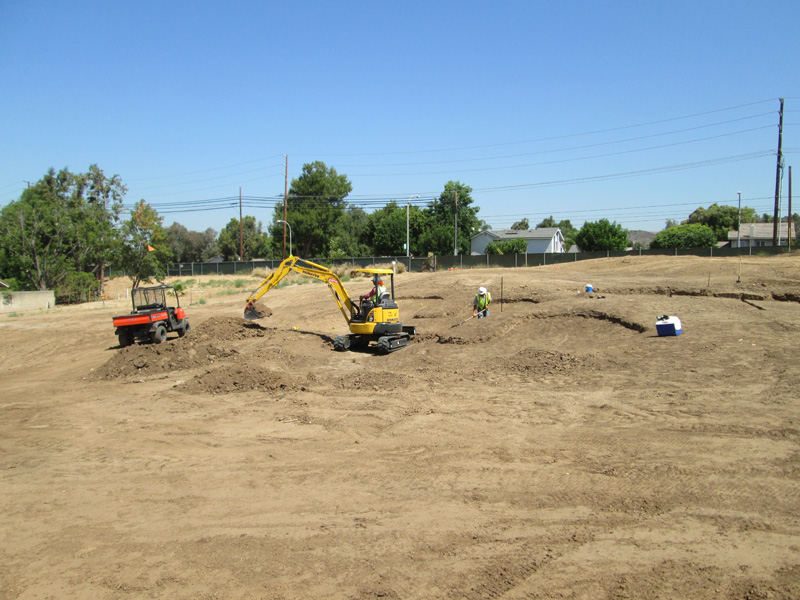 Photo of construction of sand traps on hole #3 Birch Hills Golf Course